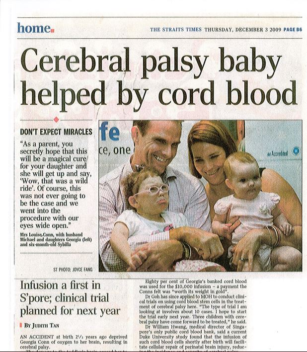 The Straits Times, 'Cerebral Palsy Baby helped by cord blood'