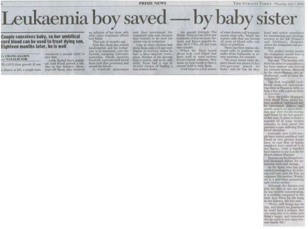 Leukaemia Boy saved  by baby sister's Cord Blood